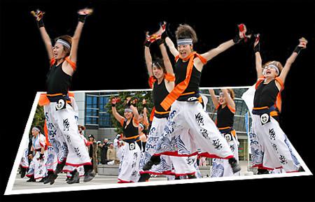 REDA舞神楽_東京大マラソン祭り2008_飛び出す写真