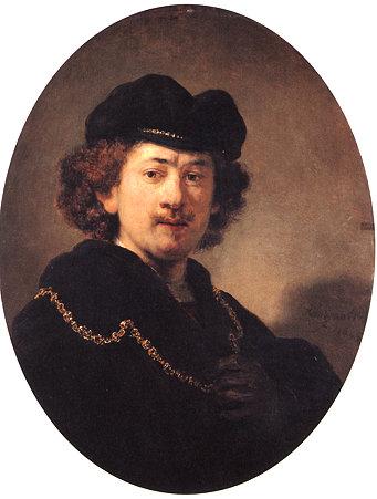 レンブラント・ファン・レイン1633金の鎖をつけた自画像-ルーブル美術館