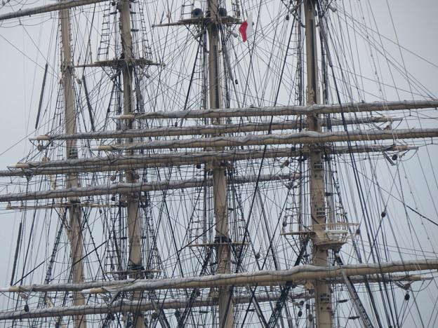 帆船日本丸のマストとロープ