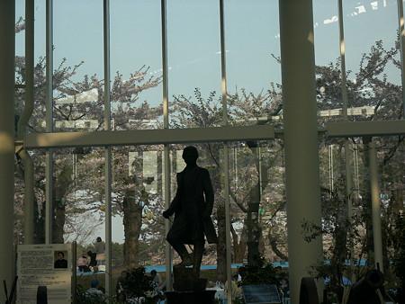 桜に洋装のシルエット