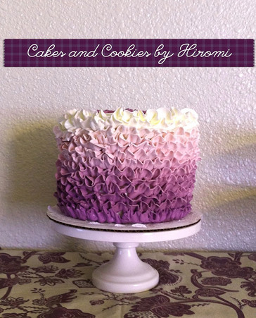 Purple frill tall cake 2