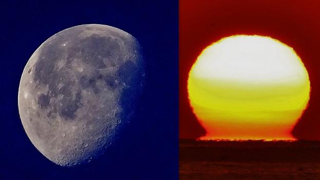 コラージュ >:< 月とダルマ太陽