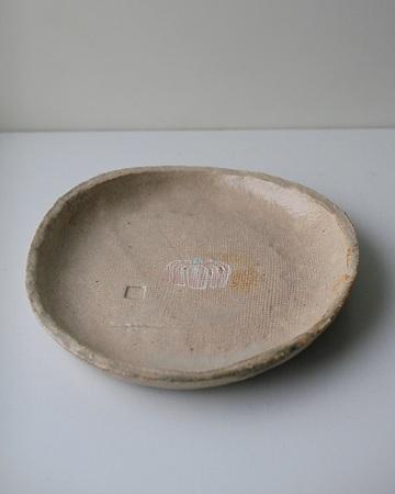 石灰透明釉南瓜模様15cm丸皿s
