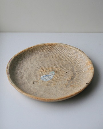 透明釉茄子模様15cm丸皿s