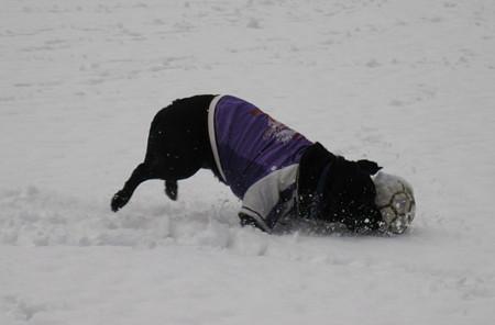 雪の中のサッカー