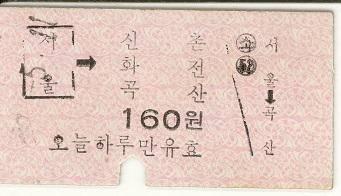 Ticket - 普通列車 ソウル→新村・花田・谷山