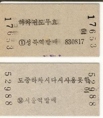 1980年代の普通列車の乗車券 (裏面)
