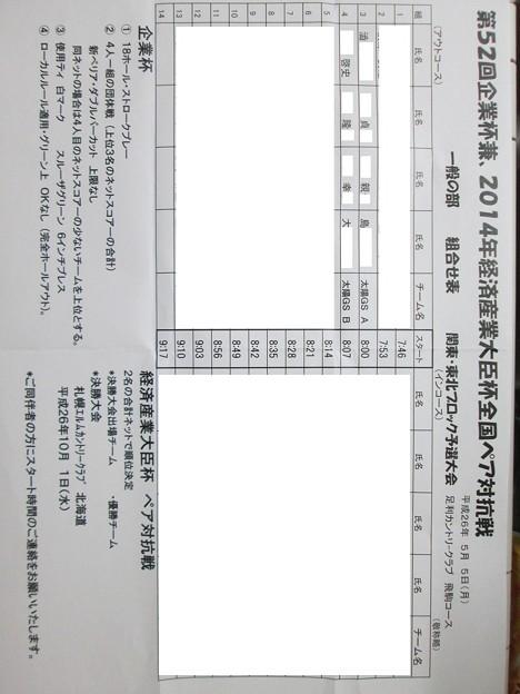 足利カントリークラブ経済産業大臣杯ペア予選組み合わせ2014.5.5