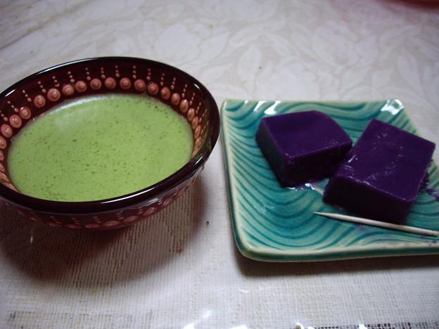 抹茶と紫芋羊羹(母作)