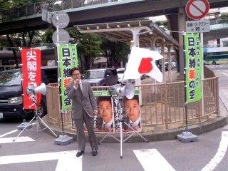 応援弁士・佐々木信也(5月3日、藤沢駅)