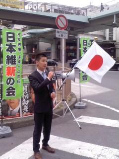 甘粕和彦支部長(5月3日、藤沢駅南口)